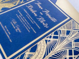 Blue & Gold Gatsby wedding invitations
