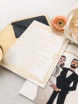Hand Painted Gatsby Invitations
