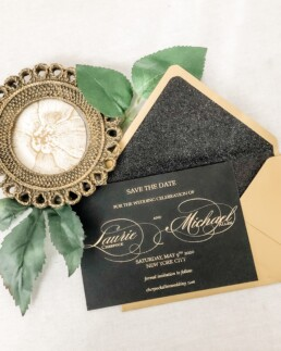 Modern Black and Gold Wedding Invitation - For the Love of Simplicity